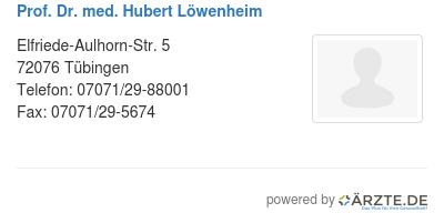 Prof dr med hubert loewenheim