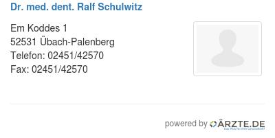 Dr med dent ralf schulwitz