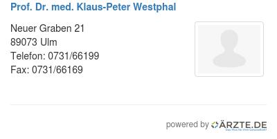 Prof dr med klaus peter westphal