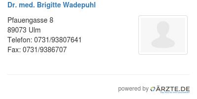 Dr med brigitte wadepuhl