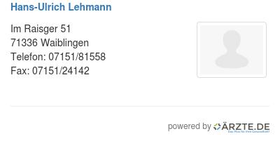 Hans ulrich lehmann