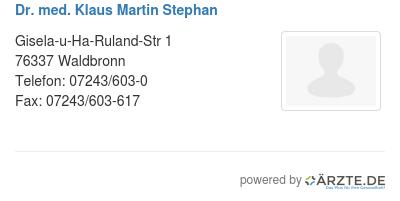 Dr med klaus martin stephan