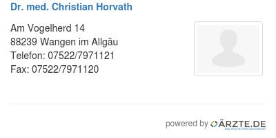 Dr med christian horvath