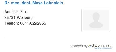 Dr med dent maya lohnstein