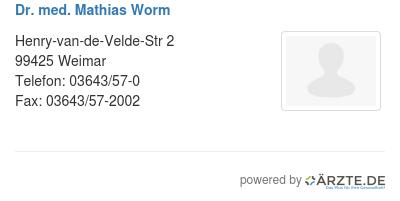 Dr med mathias worm