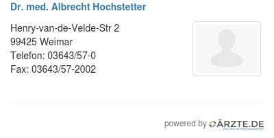 Dr med albrecht hochstetter 579659