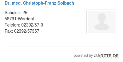 Dr med christoph franz solbach