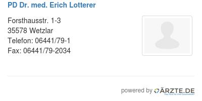 Pd dr med erich lotterer