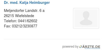 Dr med katja heimburger