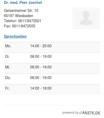 Dr med peer joechel