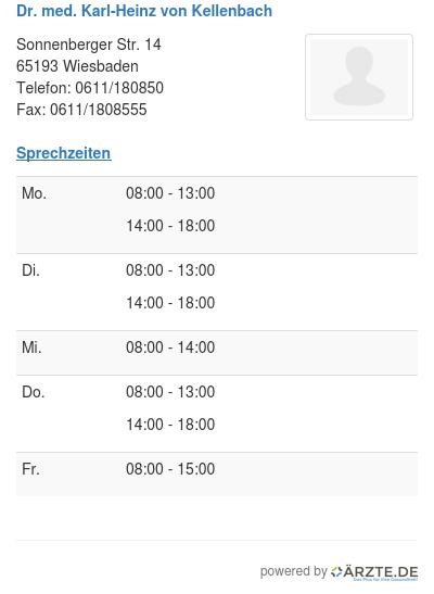 Dr med karl heinz von kellenbach