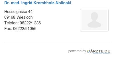 Dr med ingrid krombholz nolinski