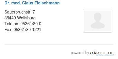 Dr med claus fleischmann