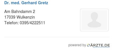 Dr med gerhard gretz