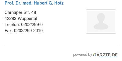 Prof dr med hubert g hotz