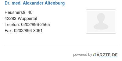 Dr med alexander altenburg